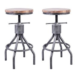 VINTAGELIVING Set of 2 Industrial Bar Stool-Vintage Counter Dining Chair-Swivel Stools-Tall Heig ...