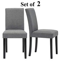Upholstered Dining Chairs with Solid Wooden Legs, Modern Stylish Fabric Padded Parsons Chairs Se ...