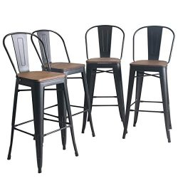 YongQiang Metal Bar Stools Set of 4 High Back Wooden Seat Industrial Indoor Outdoor Bar Chairs 3 ...