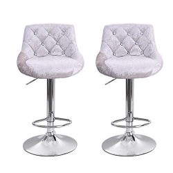 Bar Stools Unique Softness Flannel Bar Chairs Dining Stools 2 pcs Computer Chair for Kitchen Isl ...