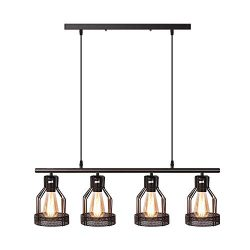 4-Light Pendant Lighting Kitchen Island Light Fixture with Paint Finish Cage Lampshade Modern In ...