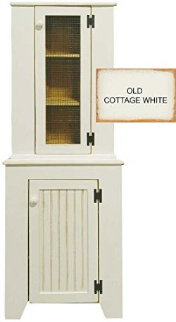 Sawdust City Corner Jelly Cupboard & Hutch Set (Old Cottage White)