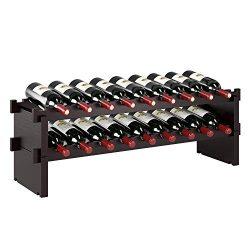 HOMECHO 18 Bottle Stackable Wine Rack – (33.7″ X 9.4″ X 11.2″) 100% Natu ...