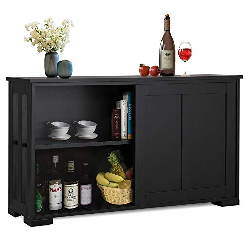 Yaheetech Buffet Sideboard with Sliding Door and Adjustable Shelf Stackable Cabinets Wooden Cons ...