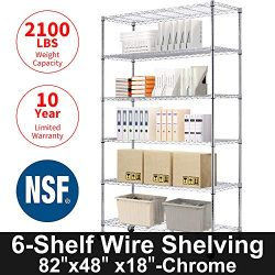 Storage Metal Shelf 6 Tier 82″x48″x18″ Wire Shelving Unit with Wheels Sturdy S ...