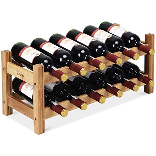 COSTWAY Wine Rack, Bamboo 12 Bottles 2-Tier Wine Display Rack for Countertop Home Kitchen Pantry ...