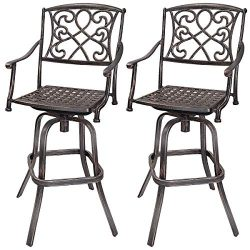COSTWAY Bar Stool Set of 2, Cast Aluminum Vintage Retro Design Patio Outdoor Garden Bistro Furni ...