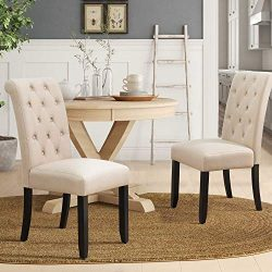 Dining Chairs Luxurious Tufted Fabric Parson Chair Side Chair with Solid Wood Legs Tall Back Set ...
