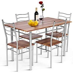 Giantex Modern 5 Piece Dining Table Set with 4 Chairs Metal Frame Wood Like Kitchen Furniture Re ...