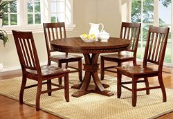 Furniture of America Castile 5-Piece Transitional Round Dining Table Set, Dark Oak