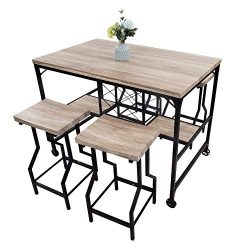 LUCKYERMORE 5 Piece Counter Height Dining Table Set Kitchen Table and 4 Bar Chair High Top Table ...