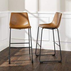 WE Furniture AZHL30WB Barstool, 30″, Whiskey Brown