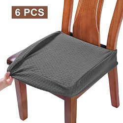 BUYUE Dining Room Chair Covers Washable Jacquard Stretch Seat Cushion Protector for Upholstered  ...