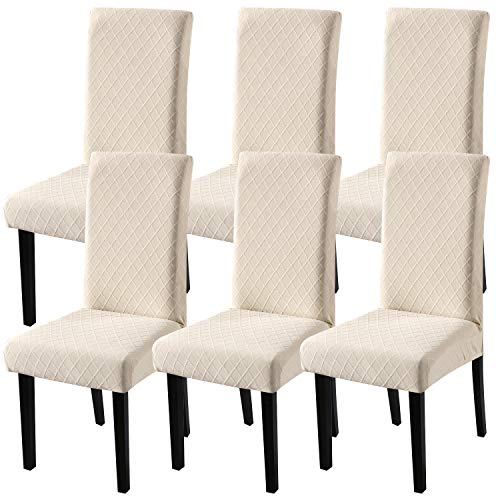 Fuloon Super Fit Stretch Jacquard Removable Washable Short Dining Chair Covers Seat Slipcover fo ...
