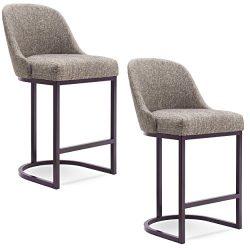 Leick Furniture 10132ES/GL Barrelback Counter Stool Set of 2, Gray Linen