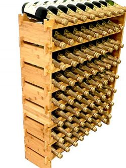 DECOMIL – 72 Bottle Stackable Modular Wine Rack Wine Storage Rack Solid Bamboo Wine Holder ...