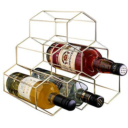PENGKE 6 Bottles Metal Wine Rack,Countertop Freestanding Wine Bottle Storage Holder,Space Saver  ...