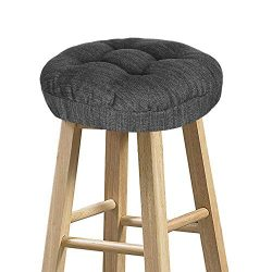 baibu Stool Covers Round, Super Soft Round Bar Stool Cushion Covers Seat Cushion Gray-Black 14&# ...