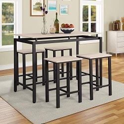 Pub Table Set, Rockjame 5 Piece Counter Height Dining Table Set with 4 Chairs for The Bar, Break ...