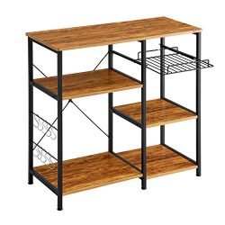 Mr IRONSTONE Kitchen Baker's Rack Vintage Utility Storage Shelf Microwave Stand 3-Tier+3-T ...