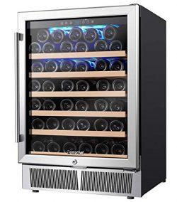 AMZCHEF 24″ Wine Refrigerator, Wine Cooler Built-in or Freestanding 52 Bottle, Quiet, Cons ...
