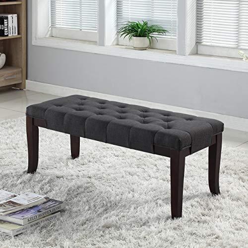 Roundhill Furniture Linon Grey Fabric Tufted Ottoman Bench, Gray
