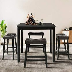 Counter Height Dining Table, Durable Metal Construction, Square Shape, Footrest, Kitchen Dining  ...
