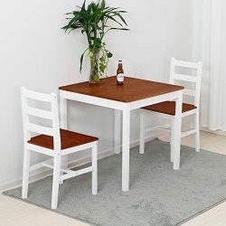 mecor 3 PC Dining Set Wood Kitchen Table Set with 2 Chairs (Natural)