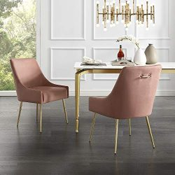 InspiredHome Blush Velvet Dining Chair – Design: Christine | Armless | Set of 2 | Knob Han ...