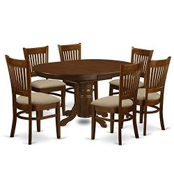 East West Furniture KEVA7-ESP-C 7 Piece Set Kenley with One 18″ Leaf and Six Cushioned Sea ...