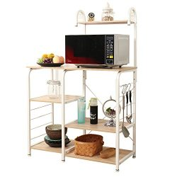 SogesPower Kitchen Baker's Rack 3-Tier+4-Tier Microwave Stand Storage Rack, White Maple