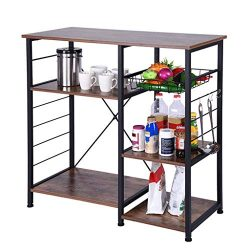 Industrial Kitchen Baker's Rack, Utility Storage Shelf, Microwave Oven Stand Metal Frame,  ...