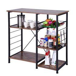 Industrial Kitchen Baker's Rack, Utility Storage Shelf, Microwave Oven Stand Metal Frame,  ...