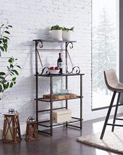 Kings Brand Furniture – Covington Metal Kitchen Baker's Rack, Pewter