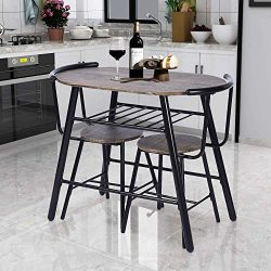 GreenForest Dining Table Set 3-Piece Rustic Breakfast Bistro Pub Table with 2 Chairs for Kitchen ...