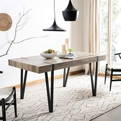 Safavieh DTB7000A Home Collection Alyssa Rustic Midcentury Wood Top Dining Table, Canyon Grey