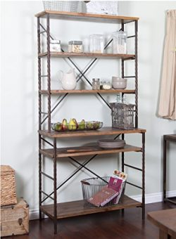 ModHaus Living Industrial Rustic 6 Tier Metal with Adjustable Wood Shelves Bakers Rack for Kitch ...