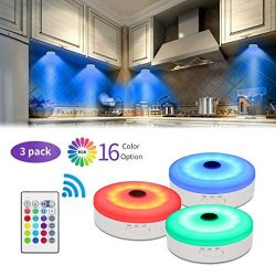 Bason Puck Lights with Remote,Under Cabinet led Lighting,RGB Wireless Rechargeable Light for Clo ...