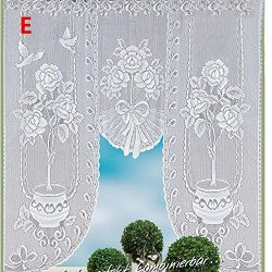 Hot Sale!DEESEE(TM)Vintage Style Lace Coffee Curtain Kitchen Curtain Vintage Style Window Scarf (E)