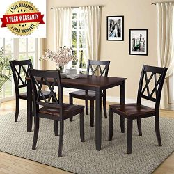 Merax 5-Piece Dining Table Set Home Kitchen Table with 4 Chairs Solid Wood and Exquisite Dining  ...