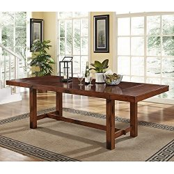 WE Furniture Walker Edison 96″ Solid Wood Dark Oak Dining Table – AZW60HDO