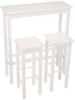 AmazonBasics Breakfast Bar Bistro Table – 3-Piece Set,  White