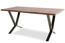 Edloe Finch Live Edge Dining Table Solid Wood Mid-Century Modern, Brass Legs