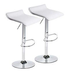 Adjustable Swivel Barstools, PU Leather with Chrome Base, Counter Height Hydraulic Pub Kitchen C ...