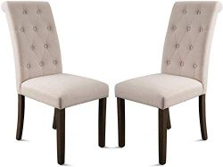 MOOSENG, High-Back Aristocratic Style Noble and Elegant Tufted Dining Room Set Side Chair with S ...