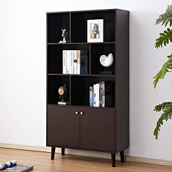Soges Premuim Modern Display Storage Cabinet 67.4 inches High Free Standing Bookshelf Wood Home  ...