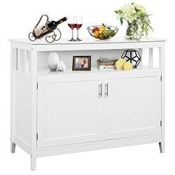 Costzon Kitchen Storage Sideboard Dining Buffet Server Cabinet Cupboard, Free Standing Storage C ...