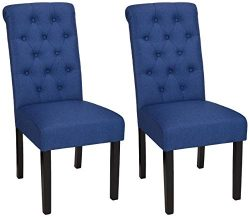 AmazonBasics Classic Fabric Tufted Dining Chair with Wooden Legs – Set of 2, Blue