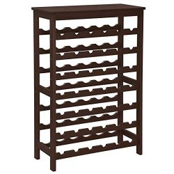 SONGMICS 42-Bottle Wine Rack Free Standing Floor, 7-Tier Display Wine Storage Shelves with Table ...
