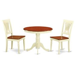 East West Furniture 3-Piece Kitchen Nook Dining Table Set, Buttermilk/Cherry Finish